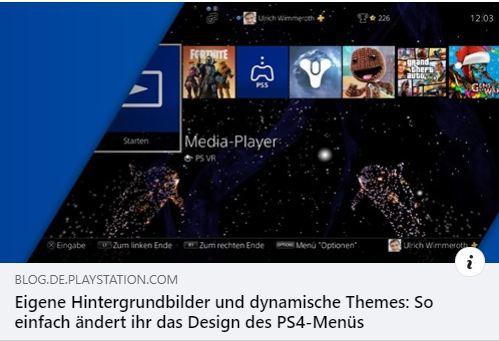 PS4 - Eigene Hintergrundbilder und dynamische Themes